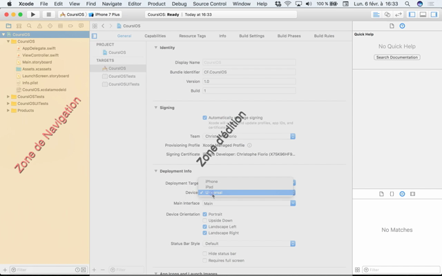 Dev IOS I.02:  l'interface de XCode