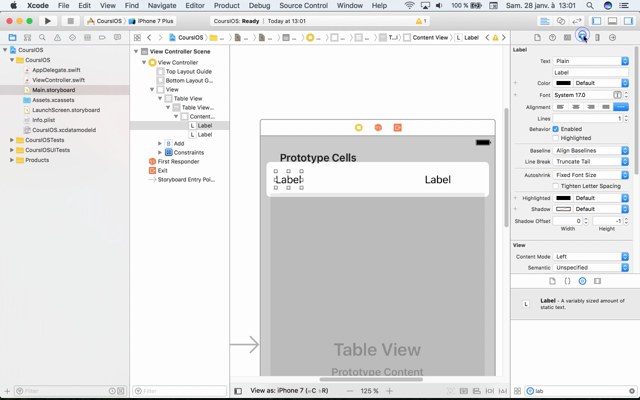 Dev IOS II.01 : TableView - mise en place